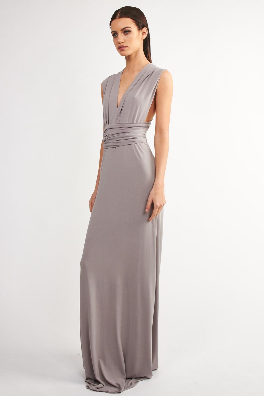 Tfnc Multi Way Grey Maxi Dress Tfnc Party Dresses