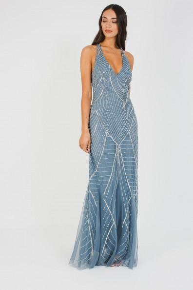 Lace & Beads Mabel Blue Maxi Embellished Dress