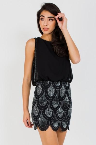 Lace & Beads Sharon Angela Black Mini Dress