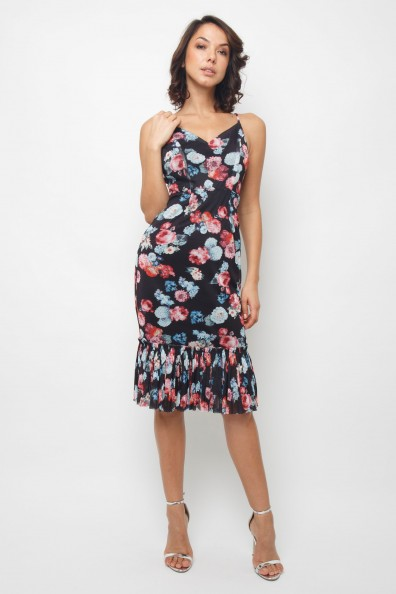 Lace & Beads Rosella Black Floral Dress