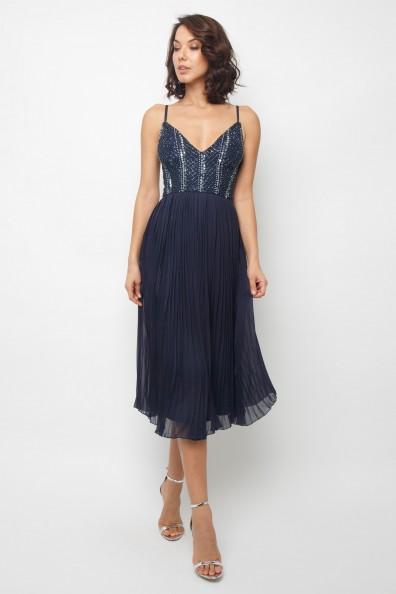 Lace & Beads Cylia Navy Midi Dress