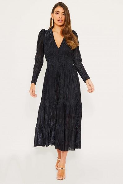 TFNC Kallista Black/Blue Maxi Dress