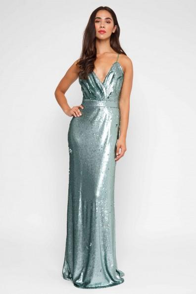 TFNC Turia Green Sequin Maxi Dress