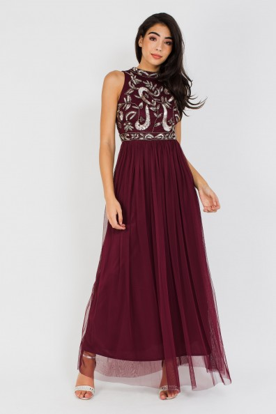 Lace & Beads Aarushi Burgundy Maxi Dress