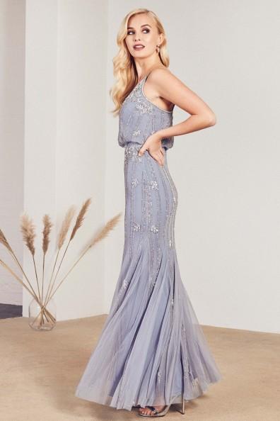 Lace & Beads Keeva Light Blue Maxi Dress