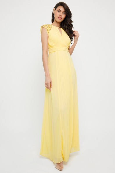 TFNC Neith Pastel Yellow Maxi Dress