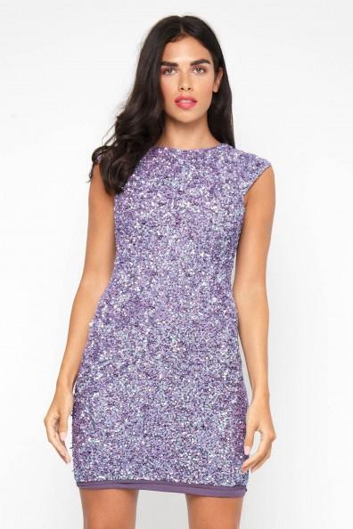 Lace & Beads Teardrop Lavender Sequin Dress