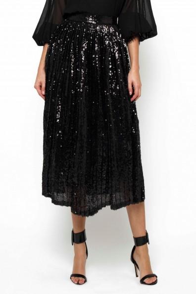 TFNC Boho Black Sequin Midi Skirt