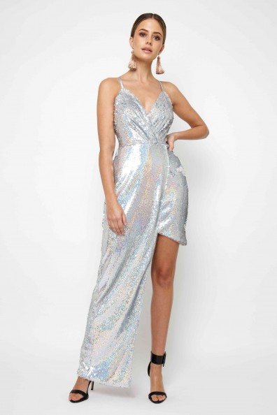 TFNC Shaina Rainbow Sequin Maxi Dress