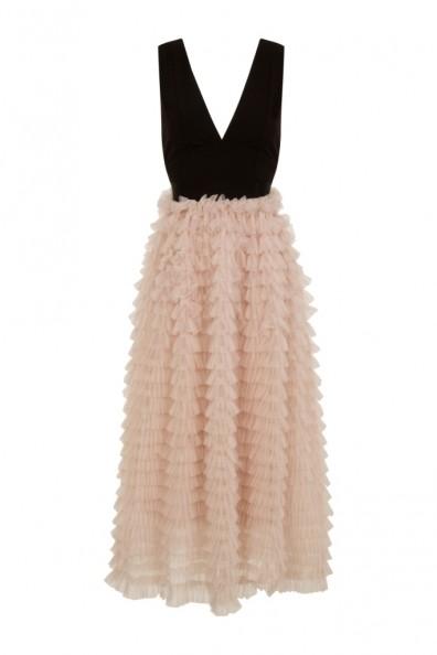TFNC Aleena Black and Cream Maxi Dress
