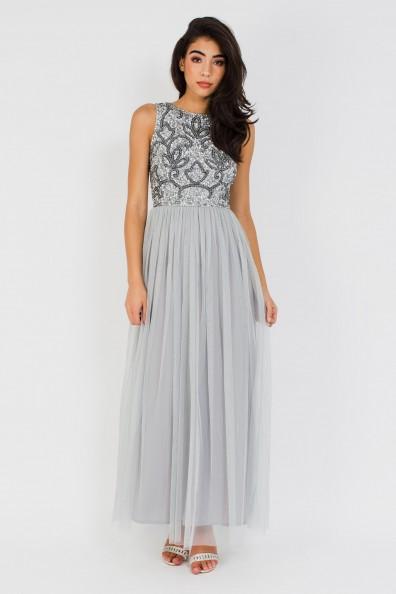Lace & Beads Charme Grey Maxi Dress
