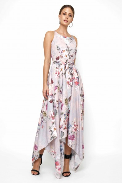 Lace & Beads Cosmos Grey Floral Maxi Dress
