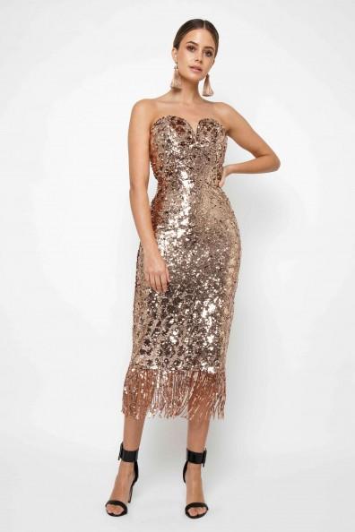 TFNC Saskia Rose Gold Midi Dress