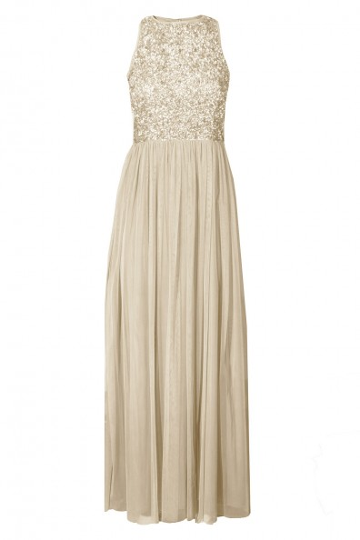 Lace & Beads Picasso Cream Embellished Maxi Dress