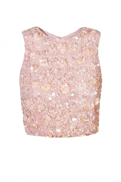 Lace & Beads Hazel Pink Sequin Top