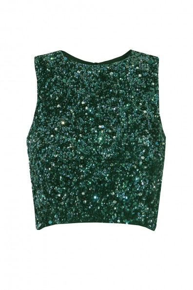 Lace & Beads Picasso Green Sequin Top