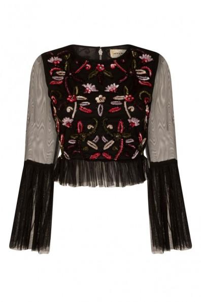 Lace & Beads Junita Black Sequin Top
