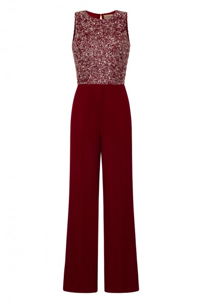 Lace & Beads Picasso Burgundy Sequin Jumpsuit