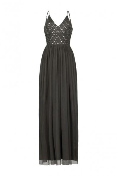 Lace & Beads Maeve Taupe Embellished Maxi Dress