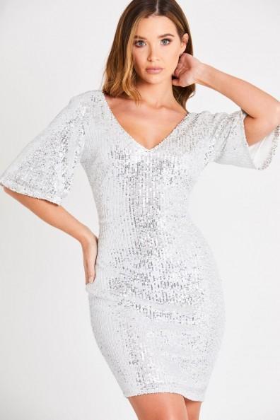 Skirt & Stiletto Lucy White Silver Sequin Midi Dress