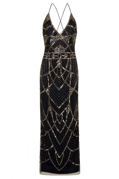 Lace & Beads Maggie Embellished Dark Blue Maxi Dress