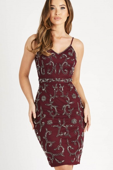Lace & Beads Fiona Burgundy Mini Dress