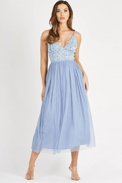 Lace & Beads Irina Blue Midi Dress
