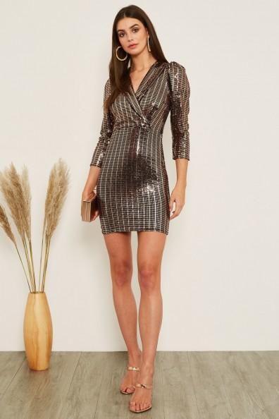 TFNC Chany Rose Gold Mini Dress