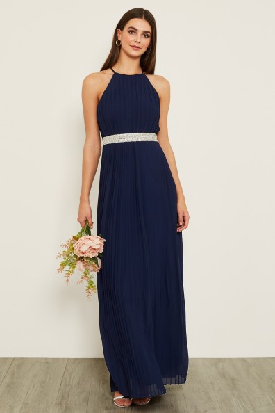 TFNC Serene Embellished Navy Maxi Dress