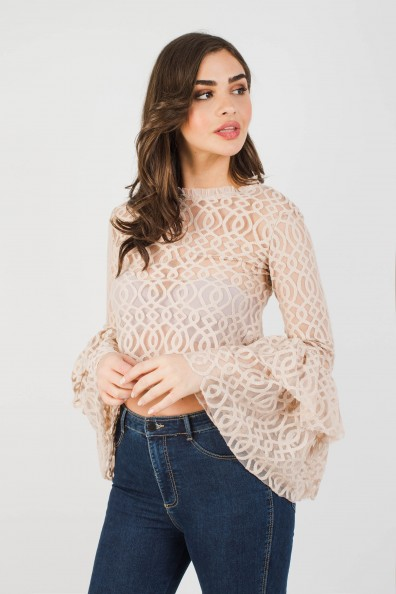 Lace & Beads Lunette Nude Top