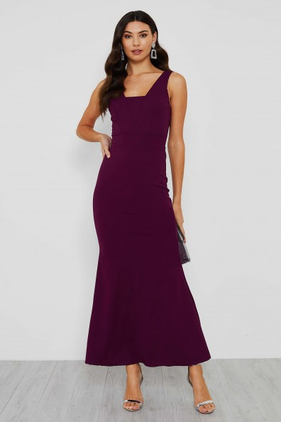 WalG Ava Elegant Evening Square Neck Purple Maxi