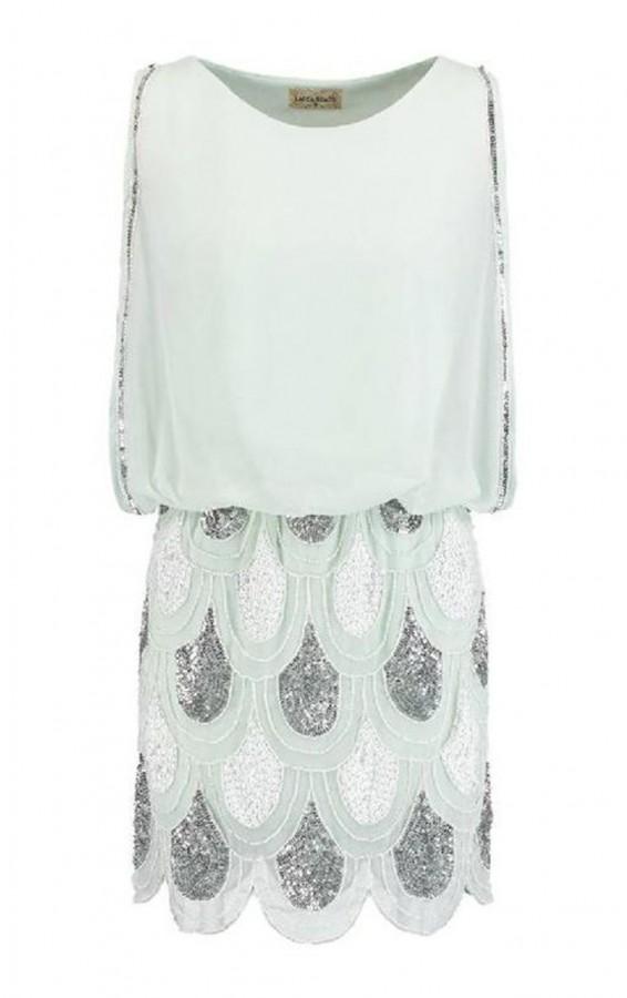 Lace & Beads Sharon Angela Mint Embellished Dress