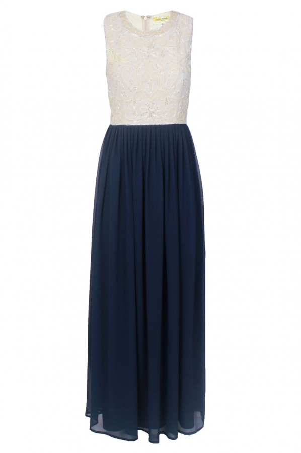 Lace & Beads Embellished Navy Maxi Dress