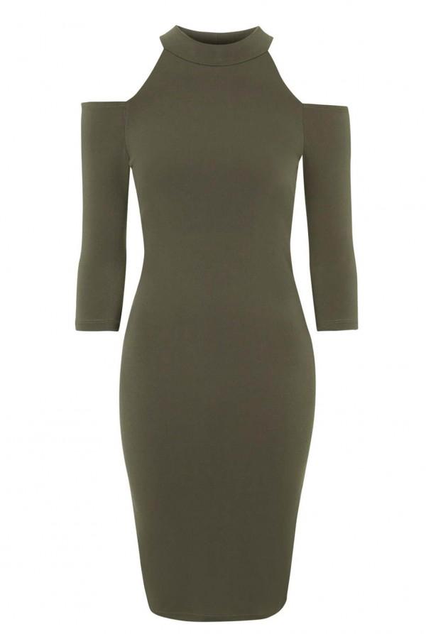 WalG Cut Out Khaki Bodycon Dress