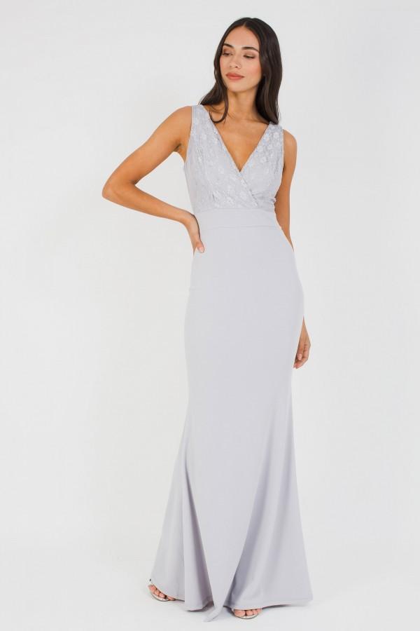 WalG Deep V Grey Lace Maxi Dress