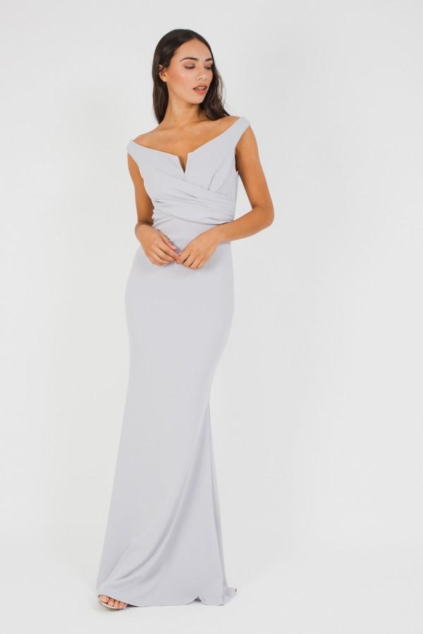 WalG Off Shoulder Grey Maxi Dress