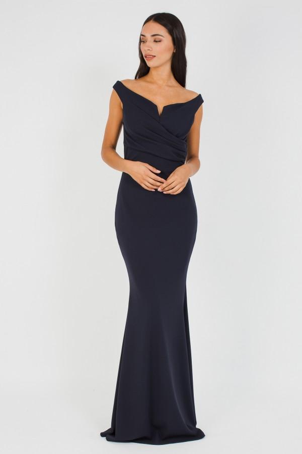 WalG Off Shoulder Navy Maxi Dress