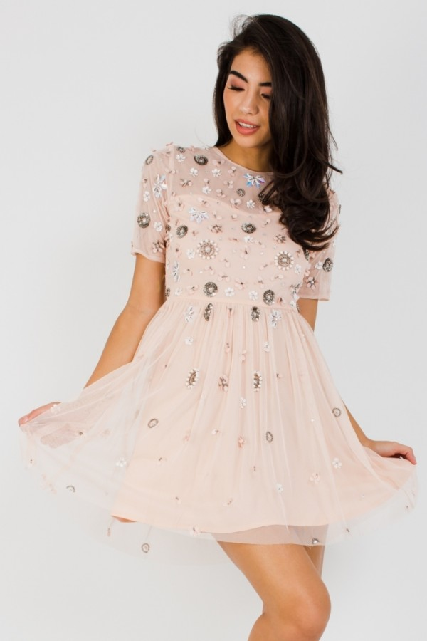 Lace & Beads Baby Nude Mini Dress