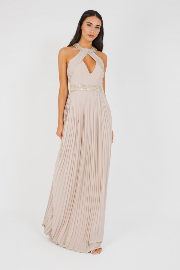 TFNC Savoy Embellished Whisper Pink Maxi Dress