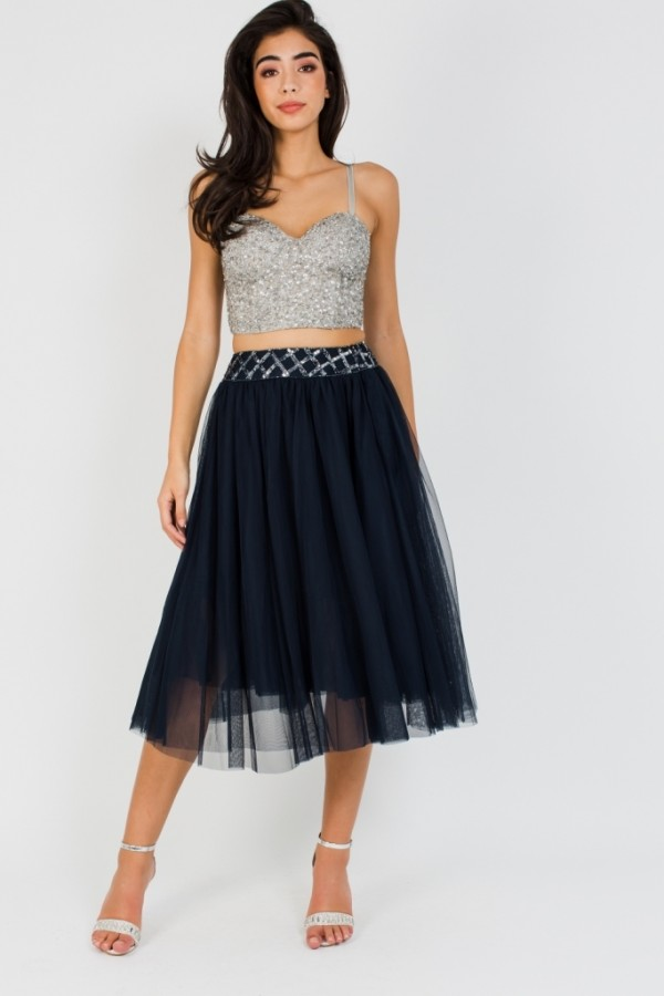 Lace & Beads Carmel Navy Midi Skirt
