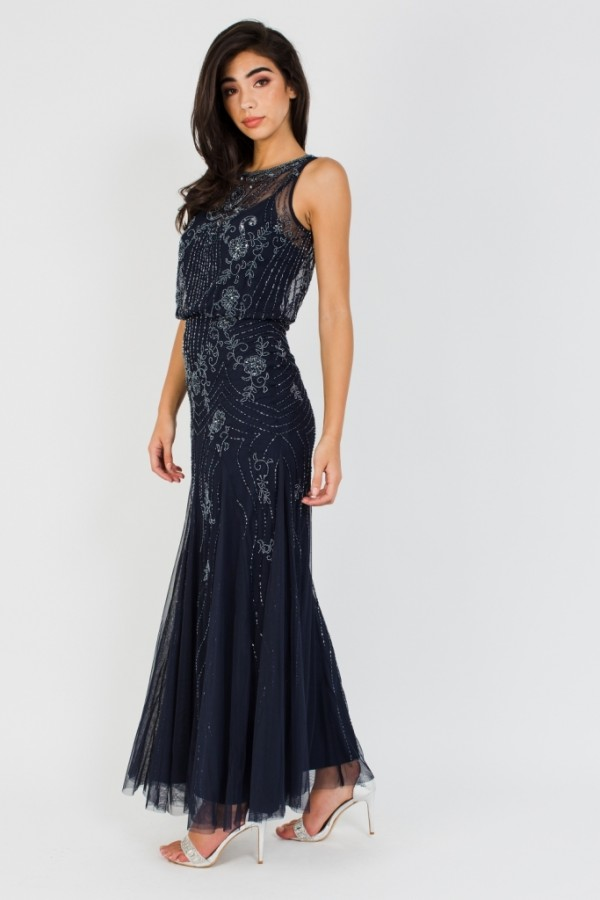 Lace & Beads Montana Embellished Navy Maxi Dress
