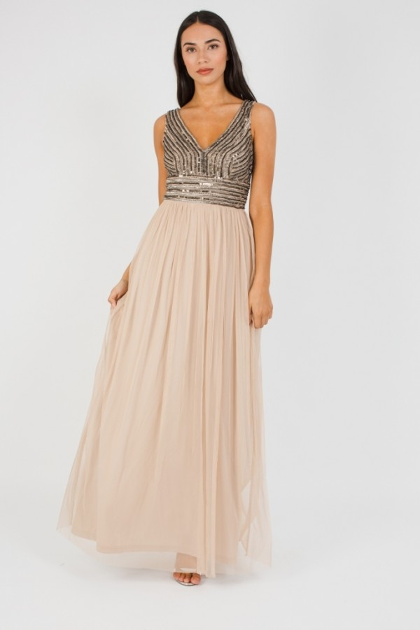 Lace & Beads Molte Taupe Maxi Dress
