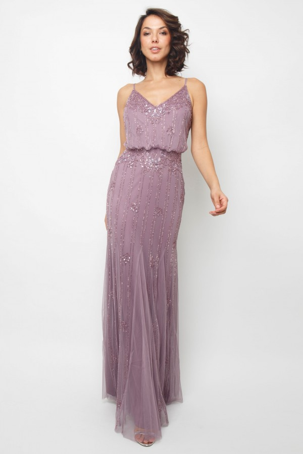 Lace & Beads Keeva Purple Maxi Dress