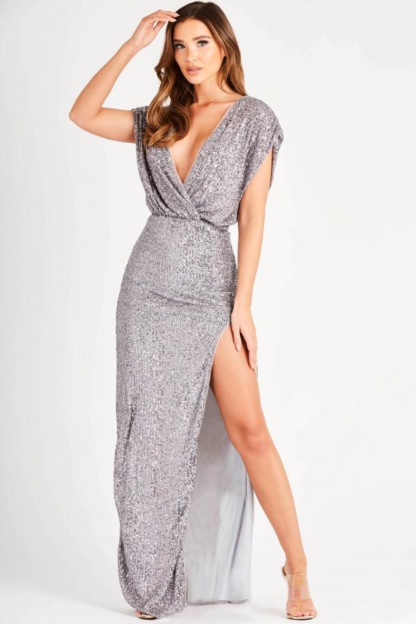 TFNC Rinah Grey Silver Maxi Dress