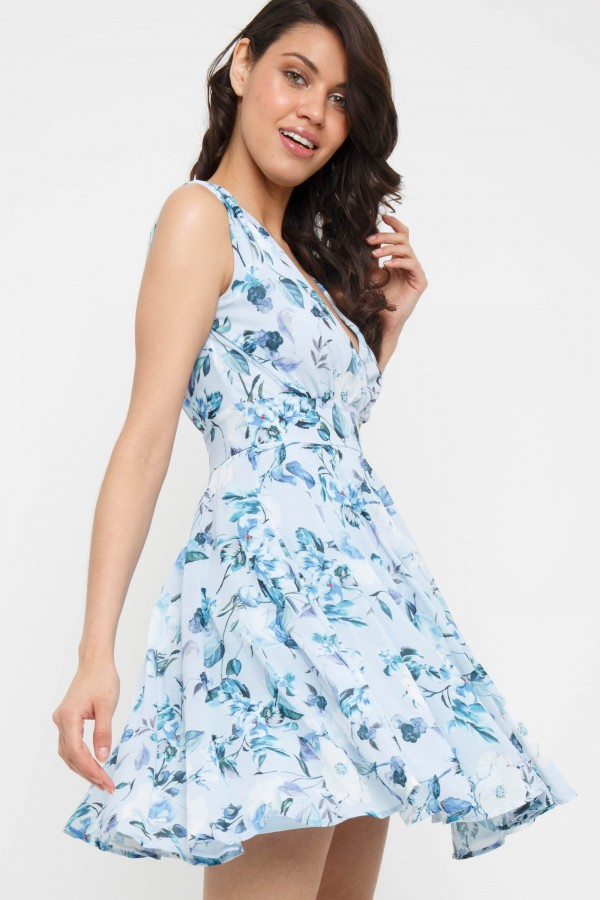 TFNC Nordi Print Light Blue Mini Dress