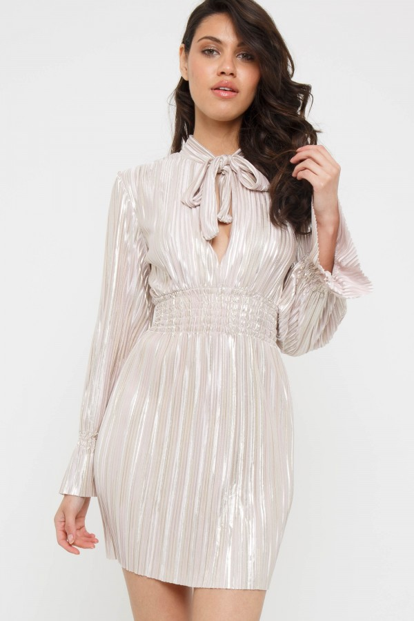 TFNC Zendaya Metallic Pink Mini Dress