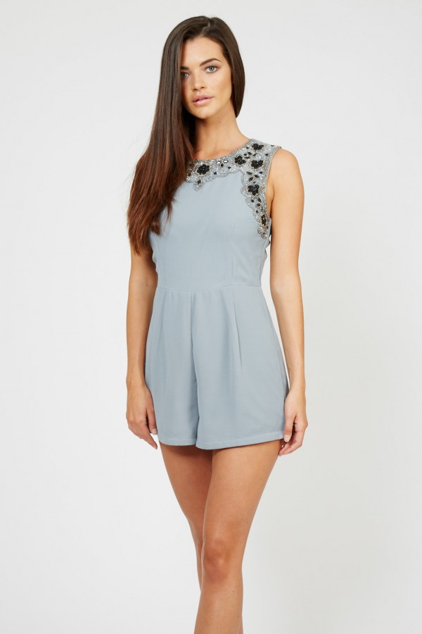 Lace & Beads Beckie Blue Embellished Playsuit