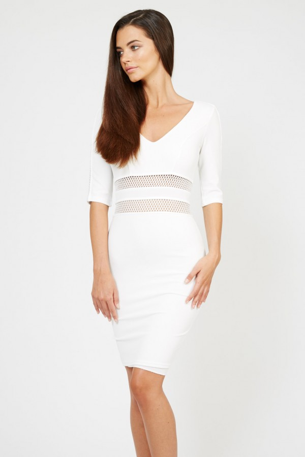 TFNC Oprah White Midi Dress