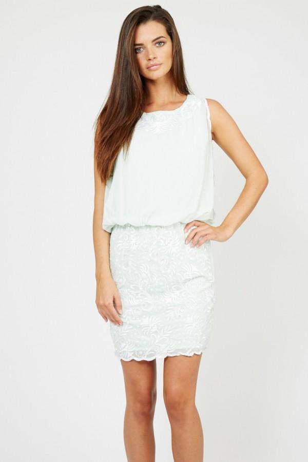 Lace & Beads Sharon Tulip Mint Dress