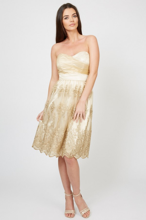 TFNC Lila Gold Midi Dress